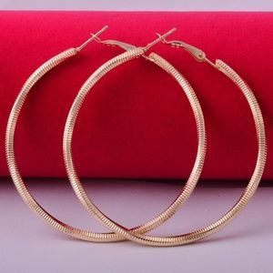 14k Yellow Gold Filled Big Hoop Dangle Earrings